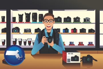 a camera shop - with Massachusetts icon