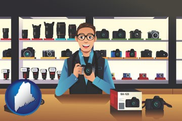 a camera shop - with Maine icon