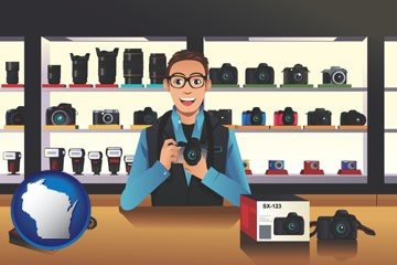 a camera shop - with Wisconsin icon