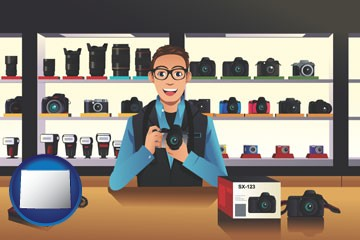 a camera shop - with Wyoming icon